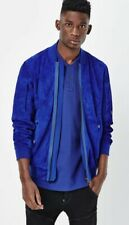 G-Star Raw Batt Suede Bomber Jacket Prince Blue Mens Size Small BNWT RRP £390