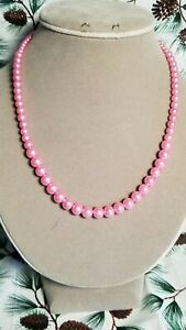 """Med. Pink Graduated Size Glass Pearl Bead Single Strand 18"""" Necklace. Hndcrafted"""