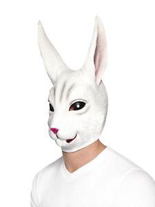 Adulte Lapin Blanc Latex Déguisement Tête Pâques Lapin Masque Costume