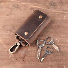 Genuine Leather Key Case  Wallet Men Holder Car Key Ring Chain Crazy Horse