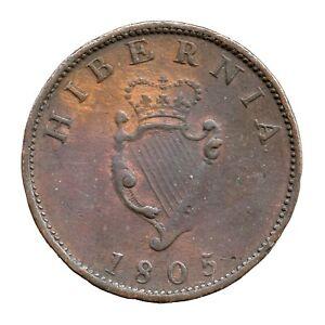 KM# 147.1 - Halfpenny - George III - Hibernia - Ireland 1805 (F)