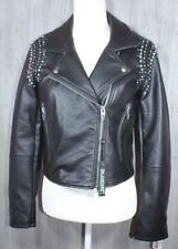 Blank NYC Black Faux Leather Moto Biker Jacket Blue Silver Studded Small NWT