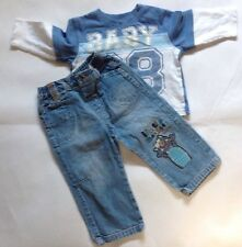 George & Cherokee Baby Boys Long Sleeve T-shit & Blue Jeans Outfit 6-9 Months