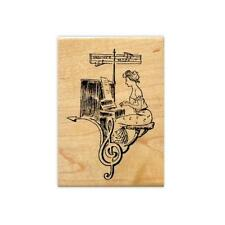 LADY PIANIST COLLAGE sm. music Mounted rubber stamp, piano collage, woman #10
