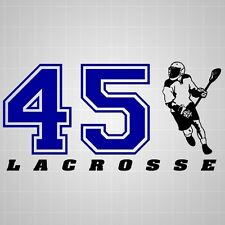 Lacrosse varsity player vinyl decal,lacrosse varsity number silhouette sticker