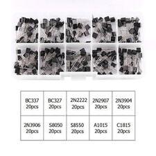20pcs x10 Types NPN PNP Power Transistor Kit Sets with Box BC337 2N2222 S8050