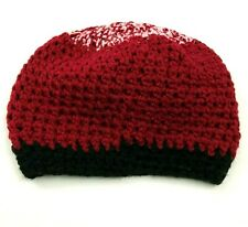 VINTAGE Boho Beanie Hat Cap Women's One Size Chunky Cable Knit Red Black USA 80s