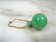 ANTIQUE CHINESE GRADE A BRIGHT GREEN JADEITE JADE 11mm BALL PENDANT 24K GOLD