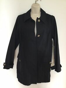 OLD NAVY Womens Black 100% Cotton Button-front Trench Coat Car Coat Size L