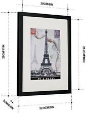 """Black Wooden Picture Frame 8""""x10"""" with Thin PlexiGlass, Wall Mount , Desk Mount"""