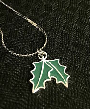 Christmas Pendant - Coloured Silver Christmas Leave