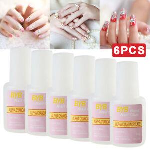 6pcs 10g Strong Nail Art Glue Adhesive With Brush Use On Fake False Acrylic Tips