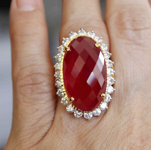 1.26ct NATURAL ROUND DIAMOND RUBY GEMSTONE 14K SOLID YELLOW GOLD COCKTAIL RING