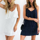 Women Summer Sexy V-Neck Open Back High Waist Spaghetti Strap Mini Dress Cute