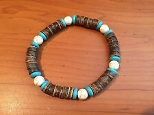 SURFER STRETCH BEAD MEN BRACELET WITH WOOD AND TURQUOISE BEADS A232