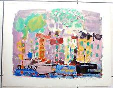 Jacques YANKEL lithographie signé 65 cm x 50 cm paysage urbain tampon au dos