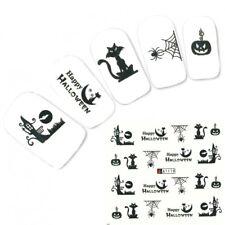 Tattoo Nail Halloween Spinne Katze Aufkleber Nagel Sticker Nägel
