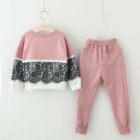 2pcs Toddler Kids Baby Girls Lace Sweater T-shirt Tops+Pants Outfits Set Clothes