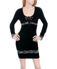 S05 -S/M- BLACK Stretchy Velur Mini Dress