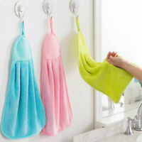Coral Velvet Kitchen Bathroom Hanging Towel Water Drying Hand Towel