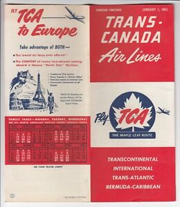 1953 Trans-Canada Air Lines Canadian Timetable TCA