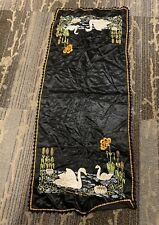 "Black Silk With Swans Table Runner 17"" X 42"""