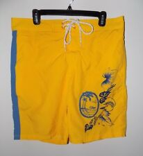 New Chaps Mens Swim Trunks Board Shorts Yellow Size L Solid