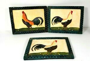 """Ceramic Rooster Plaques 8""""x 6"""" Heavy Distressed Country Kitchen Set Of Three"""