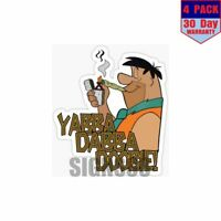 Fred Flintstoned 4 pack 4x4 Inch Sticker Decal