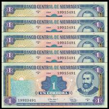 Lot 5 PCS, Nicaragua 1 Cordobas, 1995, P-179, UNC, Banknotes, Original