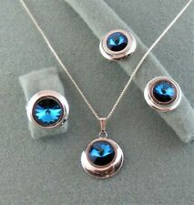 """Ring, Necklace w/Pendant, Clip Earrings Sarah Coventry """"Liquid Lights"""" Blue"""