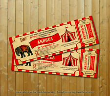 Circus Birthday Party Custom Ticket Printed Invitations 20 with 20 Envelopes