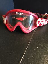B28) Vintage Oakley Goggles Red Frame Clear Lenses Preowned