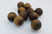 "PACK OF 10 NATURAL TIGERS EYE GEMSTONE  BEADS  ""ROUND"" FROSTED 8mm"