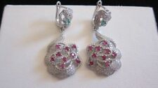 Ruby Not Enhanced Sterling Silver Fine Earrings