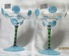 *Mo Mo Panache* Set (2) Hand Crafted, Mouth Blown Romanian Margarita Glasses