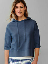 Gap French Terry Sunwashed Dark Blue Hoodie Sweatshirt Short Elbow Sleeves S M