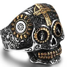Size 7-15 Stainless Steel Skull Cross Biker Ring Gold Plated Cocktail Party