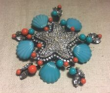 Lawrence VRBA Rare Massive Starfish Shell Coral Turquoise Rhinestone Brooch Pin