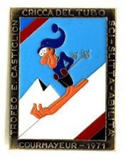 Brosche Courmayeur 1971 - Trophäe E.Castiglion Clique der Rohr Ski Rodeln Skill