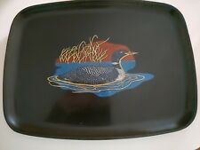 Vintage Couroc of Monterey Black Tray Spotted Duck 12 1/2 L x 9.5 W
