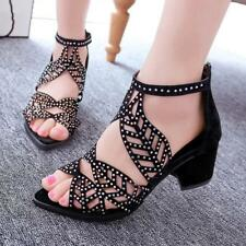Women Summer Fish Mouth Hollow Crystal Shoes Rhinestones Sandals Mid Block Heel