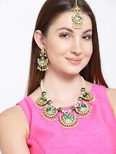 Gold Plated Kundan Green Necklace Earrings Tikka Set Indian Fashion Jewelry