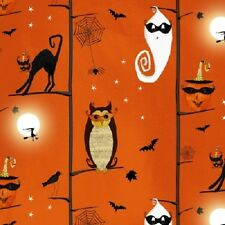 CHEEKY WEE PUMPKINS BLACK CATS OWLS GHOSTS HALLOWEEN IN THE TREES FABRIC
