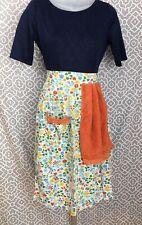 New listing Vtg Handmade White Blue Yellow Green Floral Print Half Apron Attached Towel