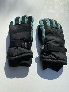 REI Children's Junior Ski Snow Gloves Black/Carolina Blue Extra Small Size (6/7)