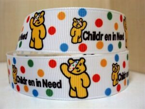 1 METRE SPOTS PUDSEY BEAR CHILDREN IN NEED RIBBON SIZE 7/8s HAIR BOWS HEADBANDS