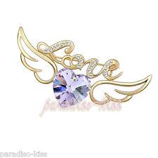 Spilla da Donna Cristallo SwarovskiI Elements Cuore Dorato Violette SP60