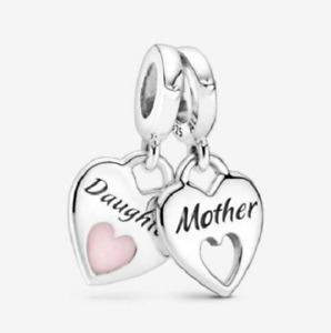 New Genuine PANDORA Silver Mother/Daughter Hearts Split S925 ALE Charm # 799187