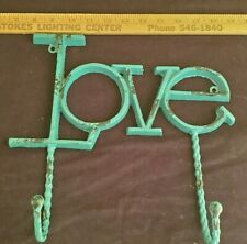 Shabby Chic Wrought Iron Love Wall Hanger Handmade Vintage